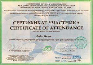 Бебло Вадим сертификат